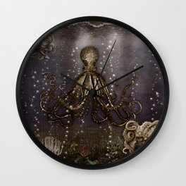 Octopus' lair - Old Photo Wall Clock