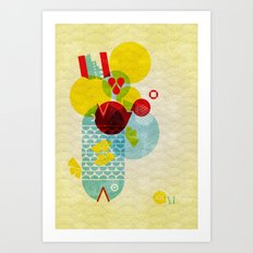 Sea Monster 2 Headed Fish Art Print