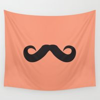 mustache Wall Tapestries featuring Mustache by Spooky Dooky