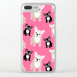 French Bulldog Puppies Pink Clear iPhone Case