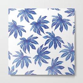 Aralia Leaves - Blue Palette Metal Print