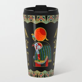 Egyptian Horus Ornament in colored glass and gold Travel Mug