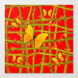 YELLOW BUTTERFLIES & RED THORN LATTICE Canvas Print