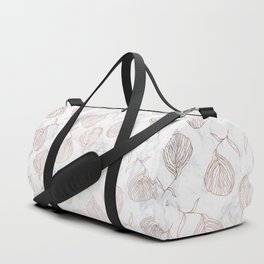 Modern girly rose gold hand drawn floral white marble pattern Duffle Bag