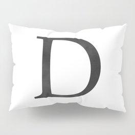 Letter D Initial Monogram Black and White Pillow Sham