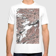 Chic Rose Gold Flowers Leaves and Modern Marble MEDIUM White Mens Fitted Tee