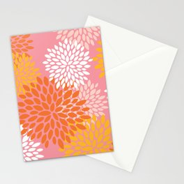 Summer Bright Floral Pattern, Pink, Yellow, Orange Stationery Cards