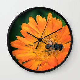 Summer Flowers and the Honeybee Wall Clock