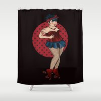 roller derby Shower Curtains featuring Curvy, Sexy, Roller Derby Pinup Girl by LucyDynamite