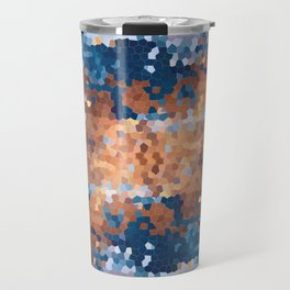 Copper and Denim Abstract Travel Mug