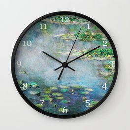 1906 Waterlily on Canvas.  Claude Monet . Vintage fine art. Wall Clock