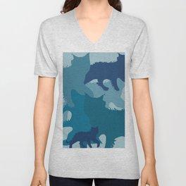 Aqua Cats Camo Unisex V-Neck
