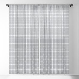 Dotted Grid Grey Sheer Curtain