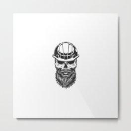 Skull Miner Helmet Metal Print