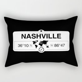Nashville Tennessee Map GPS Coordinates Artwork with Compass Rectangular Pillow