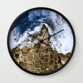 An abstract of the ocean and the coastal rocks. Wall Clock