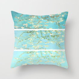 Vincent Van Gogh Almond Blossoms  Panel arT Aqua Seafoam Throw Pillow