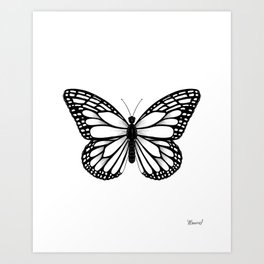 Monarch Butterfly - Black and White Color Palette Art Print