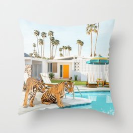 Tigers at the Pool Throw Pillow