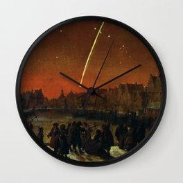 Comet above Rotterdam - Lieve Verschuier (1680) Wall Clock