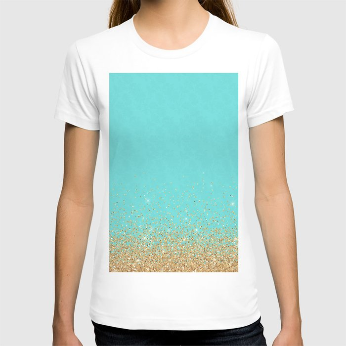 Sparkling gold glitter confetti on aqua teal damask background T-shirt
