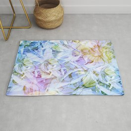Soft Rainbow Floral Abstract Rug