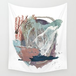 In the Clouds: a minimal mixed media piece in blues, pinks, white, and purple Wall Tapestry