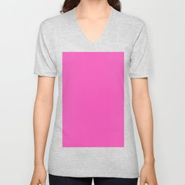 Bright Bold Bubblegum Pink - Plain Solid Block Colors - Summer / Hot / Kids / Fun Colours / Feminine / Princess / Barbie Unisex V-Neck