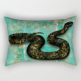 Black Snake on Old Teal Paint texture Rectangular Pillow