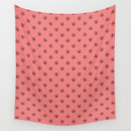 Black on Coral Pink Snowflakes Wall Tapestry