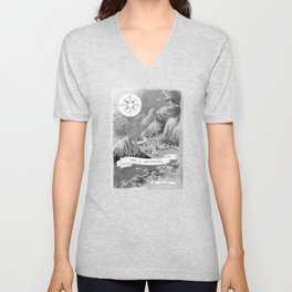 Moominvalley Map interpretation (Black & White) Unisex V-Neck