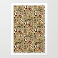 paisley Art Prints featuring Paisley by Catru