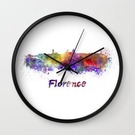Florence skyline in watercolor Wall Clock