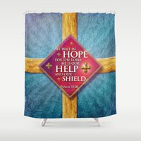 shield Shower Curtains featuring Our Shield by Peter Gross