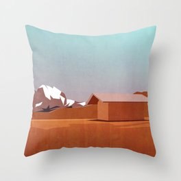 mountain landscape illustration - graphic art print Throw Pillow