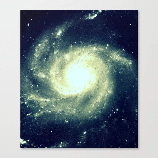 Ivory Teal Pinwheel Spiral Galaxy Space Canvas Print