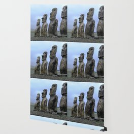Moais in Easter Island, Chile. Wallpaper