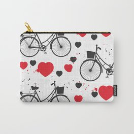 seamless pattern black bike and red heart on white background. Vector illustration Carry-All Pouch