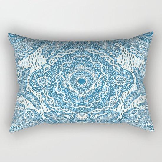 Rain in the Garden - blue and cream Rectangular Pillow
