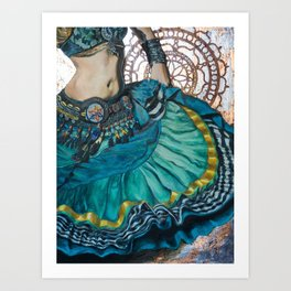 Turquoise Twirling Art Print