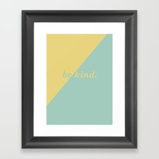 Geometric Be Kind in Gold & Mint Framed Art Print