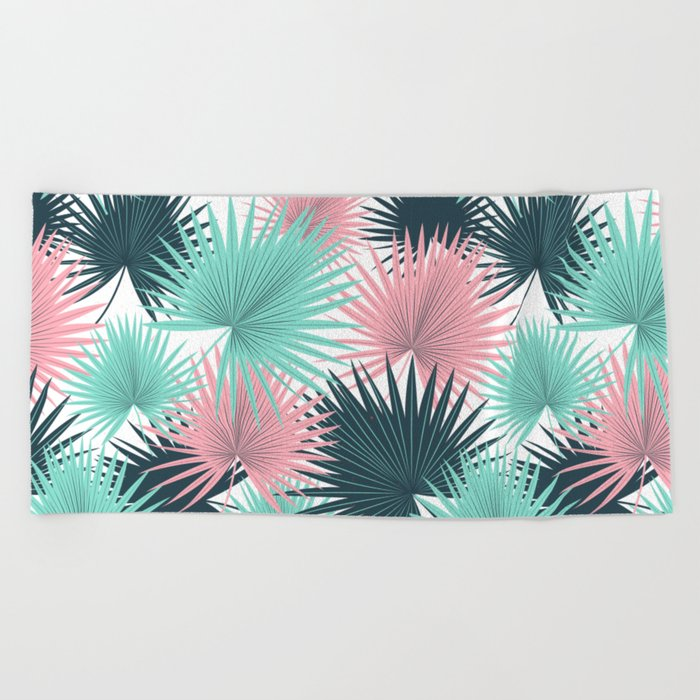 Pastel Palm Leaves Beach Towel