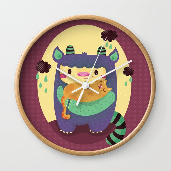Monster and cat Wall Clock