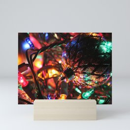 Silver Christmas Balls and Lights Mini Art Print