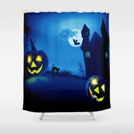 Background with pumpkins in Halloween party Shower Curtain