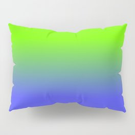 Neon Blue and Neon Green Ombré  Shade Color Fade Pillow Sham