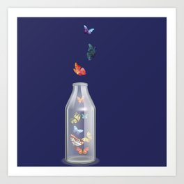 Botella y mariposas Art Print