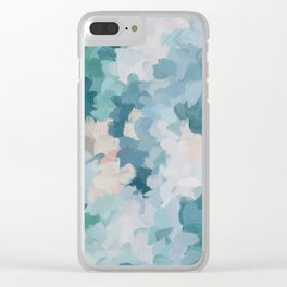 Mint Green Sky Blue Teal Blush Pink Abstract Nature Flower Wall Art, Spring Blossom Painting Clear iPhone Case