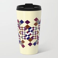 Abstract geometric pattern. Small colored squares on a beige. Metal Travel Mug
