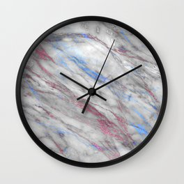 Elegant modern faux rose gold blue abstract marble Wall Clock